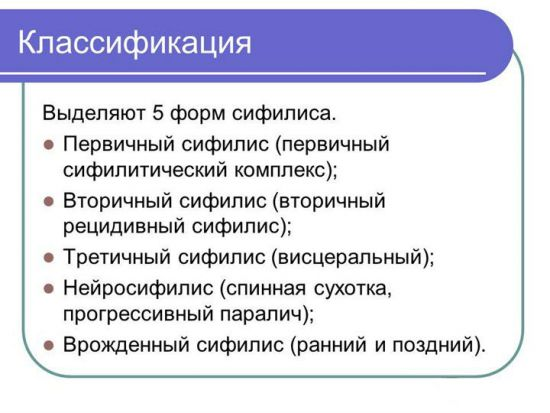 Классификация сифилиса