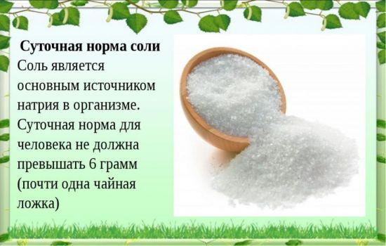 Суточная норма соли